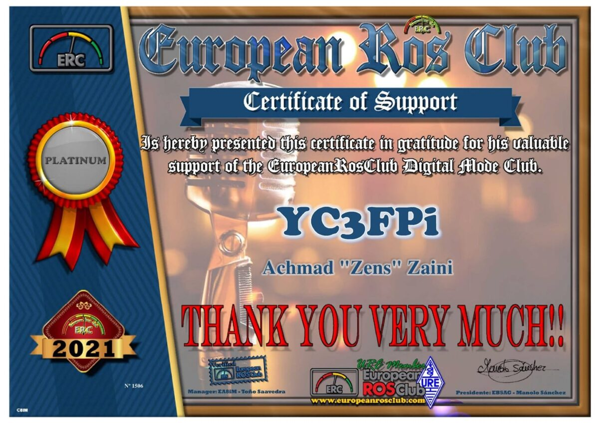 Certificate of Support YC3FPI from ERC