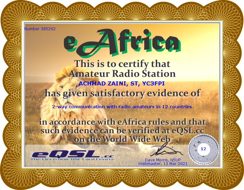 The eAfrica Award for YC3FPI by eQSL.CC
