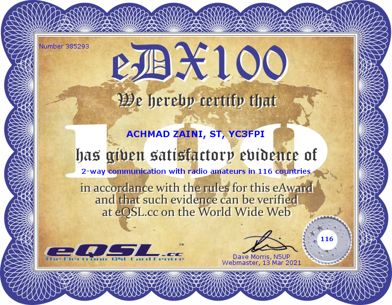The eDX100 Award for YC3FPI by eQSL.CC
